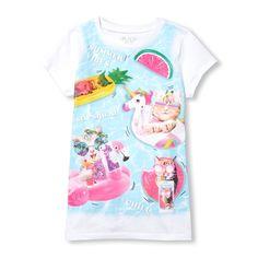 SHIRT1-KIDS Black Octopus Childrens Girls Short Sleeve Shirts Ruffles Shirt Tee for 2-6T