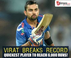 #ViratKohli becomes the fastest batsman to reach 6000 ODI runs in 5 innings lesser than former record holder, Sir Viv Richards. Heartiest Congratulations to the Champion! For more about him, click-
