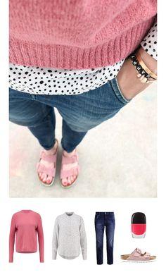 Alltagsoutfit mit Jeans und pinkem Pullover. Passend dazu die Arizona Rose Schlappen von Birkenstock. Ton in Ton damit die pink lackierten Fussnägel. Tolles Outfit fürs Büro das genau die richtige Mischung aus Elegant und Sportlich kombiniert.