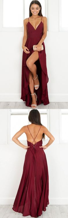 sexy burgundy high low party dress, 2017 burgundy prom dress homecoming dress