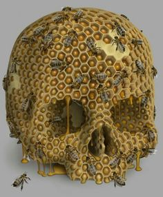 Bees:  #Honeycomb skull with #bees.