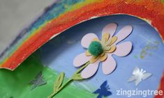 This Paper Plate Rainbow Garden Collage is a great example of why I love using paper plates for collage projects. The shape ir perfect for transforming into