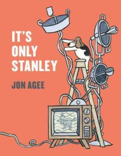 It's only Stanley by Jon Agee. Very strange noises that keep awakening the Wimbledon family one night have an even stranger source.