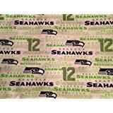 Seattle Seahawks White Cotton Fabric by the Yard