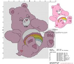 Small back stitch cross stitch pattern Cheer Bear from Care Bears
