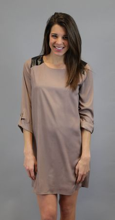 Everly: Leather Shift Dress - Taupe #shopacutabove