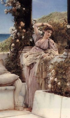 Thou Rose of all the Roses by artist Sir Lawrence Alma-Tadema. hand-painted museum quality oil painting reproduction on canvas. Lawrence Alma Tadema, Rome Antique, Academic Art, Dutch Painters, Pre Raphaelite, Alphonse Mucha, Illustration, Oil Painting Reproductions, Classical Art