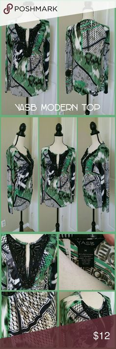 💜 YASB Green Modern Top Blouse Long Sleeve Medium 💜 NEW LISTING 💜 * YASB green, black and white top. Modern design. Long sleeves. V-neck with black beading detail. * Size medium. * Polyester/spandex. * Good used condition. No damage to note. YASB Tops Blouses