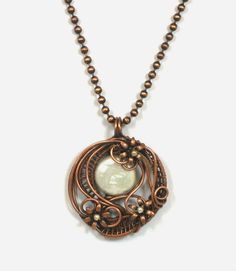 Woven And Wrapped Copper Wire Coin Pearl Flower Pendant | BDJDesigns - Jewelry on ArtFire
