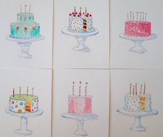Celebration Cards  6 Hand Painted Watercolor Cards by SusanHorsey