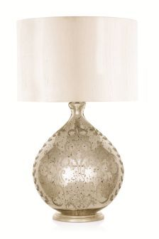 Large Etched Mercury Glass Table Lamp