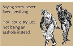 Saying sorry never fixed anything.....you could try not being an asshole instead!