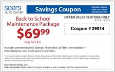 $69.99 Sears Back To School Maintenance Package Coupon for September 2013