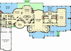 The Corrineaux Estate luxury house plan's open floor layout is perfectly paired by its European house plan design and breath taking curb appeal not easily found. European House Plans, Luxury House Plans, Dream House Plans, House Floor Plans, Luxury Houses, Home Design Plans, Plan Design, Castle House Plans, Grand Hall