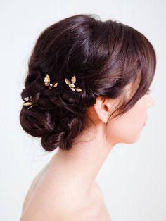 Gold Small Wedding Hair Combs | ADELE HAIRPIN | Davie & Chiyo
