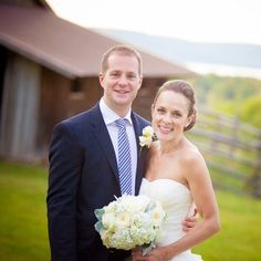 Bride and Groom portrait at their Snow Moon Ranch Wedding in Michigan from TheKnot.com