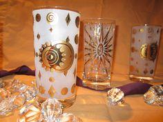 Fred Press Celestial Highball Glasses- Vintage Set of 5 by BernieandGerrys. $44.00, via Etsy.
