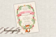 Little Fox Baby Shower Invitation by beenesprout on Etsy