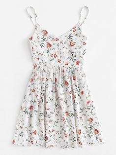 Shop Floral Print Cami Dress at ROMWE, discover more fashion styles online. Style Outfits, Teen Fashion Outfits, Cute Casual Outfits, Cute Summer Outfits, Pretty Outfits, Pretty Dresses, Spring Outfits, Dress Outfits, Casual Dresses