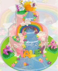 my little pony crafts | Gorgeous My Little Pony Birthday Cakes My Little Pony birthday cake girl rainbow pink blue yellow party birthday kids