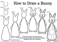 FREE for Easter. How to draw a bunny rabbit step-by-step.Great for an easy and fun Easter art activity. Also included is a short video tutorial! Have kids draw the bunny and then use their imaginations to make it their own!