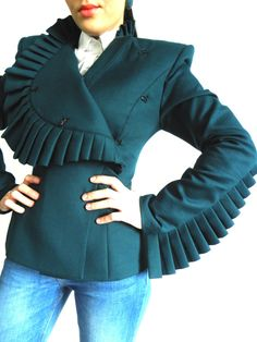 Items similar to Ruffle Sleeves Short Blazer, Haute Couture Ladies Jacket Military Inspired Fashion, Couture Jackets, Blazer And Shorts, Embroidery Fashion, Fashion Project, Jackets For Women, Ladies Jackets, Blouse Designs, Fashion Outfits