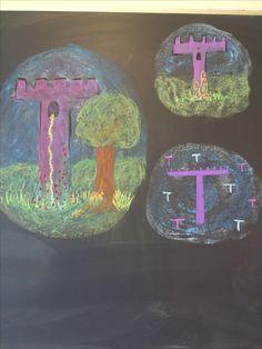 T for Tower Blackboard Drawing, Chalkboard Drawings, Chalk Drawings, Waldorf Curriculum, Waldorf Education, Kids Education, First Grade, Grade 1, Steiner Waldorf