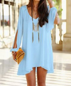 Summer Style Chiffon Dress 2016 Sexy V Neck Candy Color butterfly sleeve loose Dresses S-XXL Plus Size Women clothing Vestidos Fashion Mode, Look Fashion, Womens Fashion, Beach Fashion, Korean Fashion, Fashion Ideas, Fashion Usa, Fashion 2016, Cheap Fashion