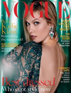 Karlie Kloss in ELIE SAAB Haute Couture Fall-Winter 2015-16 shot by Patrick Demarchelier & styled by Lucinda Chambers for the December cover of Vogue UK.