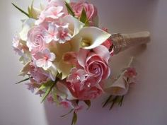 Clay Bridal Bouquet Cherry Blossom Bouquet Made To by PetalByPetal
