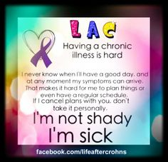 Don't judge a book by its covers. I have Crohn's Disease. What happens inside my body would scare you death.