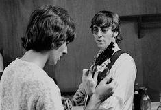 George Harrison and John Lennon at JFK Stadium in Philadelphia on August 16, 1966