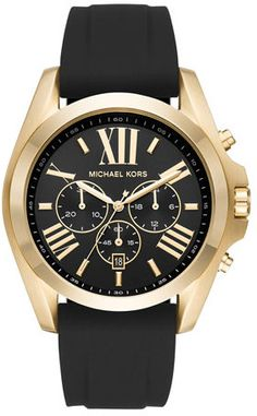 Michael Kors 47mm Bradshaw Chronograph Watch w/ Silicone Strap, Yellow-Golden/Black