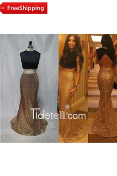 Sexy 2 Piece Mermaid Scoop Neckline Lace Long Prom Dress With Pearls