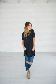 High Low Hem Tunic - Black Black Tops, High Low, Fashion Show, Cool Outfits, Tunic, Skinny Jeans, Shirt Dress, Halle, My Style