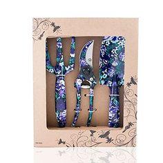 FLORA GUARD 3 Piece Aluminum Garden Tool Set with Purple Print – Trowel, Cultivator, Pruning Shear, Gift Set for Gardening Needs $22.99