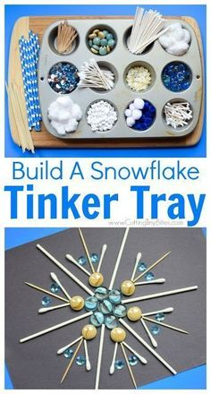 Winter STEM- Build A Snowflake Tinker Tray. Use loose parts to build snowflakes. Explore radial symmetry as you incorporate math science fine motor work and creativity in this activity for preschoolers kindergartners and elementary kids. Winter Crafts For Kids, Winter Fun, Winter Theme, Preschool Winter, Winter Crafts For Preschoolers, Winter Stem Activities For Kids, Science With Kids, Stem Preschool, Snow Theme