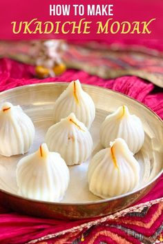 Ukadiche Modak are sweet rice dumplings filled with coconut, cardamom, and jaggery. They are a popular Indian sweet, and now you can make them at home using an Instant Pot! | Homemade Indian Sweets | Ganesh Chaturthi Recipes | #indianfood | pipingpotcurry.com Indian Desserts, Indian Sweets, Indian Food Recipes, Asian Recipes, Sweet Recipes, Chinese Recipes, Paneer Recipes, Curry Recipes, Vegetarian Recipes