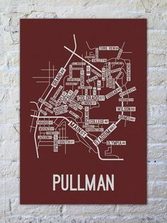 Pullman, Washington Street Map Print - School Street Posters