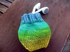 Ravelry: #Earbud #Pouch pattern by Mary Keenan #knitting