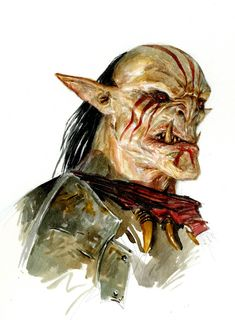 "Aratrok, Orc chieftain of Redskull Island Portrait by Adrian Smith for the ""Dark Messiah"" H5 map"