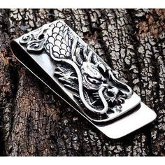 With our Engraved Dragon Silver Money Clip, you'll show there are no minor details when it comes to your look. The dragon resting on this clip arrests attention Leather Jewelry, Metal Jewelry, Sterling Silver Jewelry, Leather Cuffs, Gold Jewellery, Fine Jewelry, Jewelry Necklaces, Cowgirl Jewelry, Gothic Jewelry