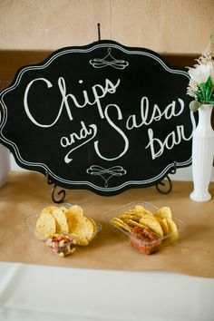 Very Texan - Chips and salsa bar. Photography: Luke And Cat Photography Wedding Reception Food, Wedding Catering, Wedding Day, Catering Food, Catering Display, Wedding Appetizer Bar, Wedding Foods, Wedding Receptions, Wedding Dreams