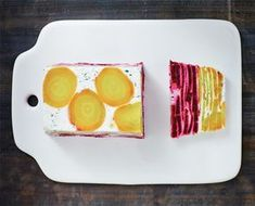 Try this beet terrine from The Hemsley sisters new cookbook The Art of Eating Well. It's a great recipe for entertaining with beet and goat cheese