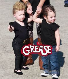 """You're the one that I want! Natasha McAdoo's twins rock some serious '50s style as Danny and Sandy from """"Grease."""""""
