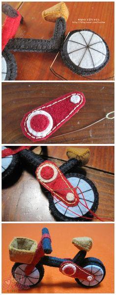 挺好看的吧 不织布小自行车 喜欢的就仿制的做做看吧 图片从韩网找到的 ~~~