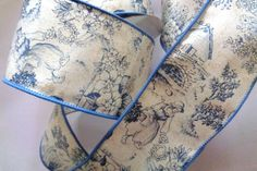 "Wide Toile Wired Ribbon, Blue, 2 1/2"" inch wide, 1 yard, For Home Decor, Gift Baskets, Victorian & Romantic Crafts by PrimroseLaceRibbon on Etsy"