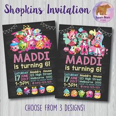 Shopkins Invitation, Shopkins Invite, Shopkins Party, Shopkins Birthday Party, Shopkins Blackboard Invitation, Shopkins Printable Invitation