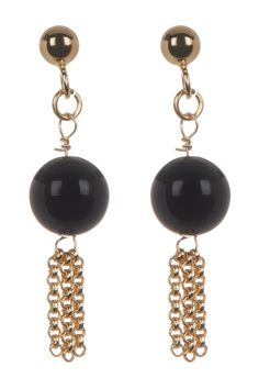 Liberty Jewelry 18K Gold Plated Sterling Silver Black Onyx & Tassel Drop Earrings