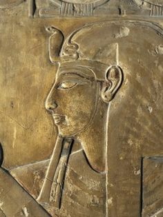 Egypt, Thebes, Luxor, Valley of the Kings, close-up of relief in corridor representing Pharaoh, Tomb of Seti I